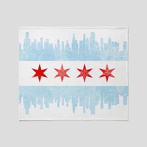 Chicago Skyline Flag Throw Blanket