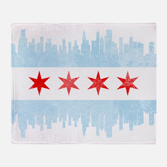 Chicago Skyline Flag Throw Blanket
