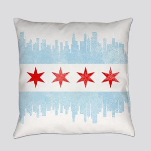 Chicago Skyline Flag Everyday Pillow