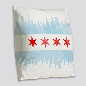 Chicago Skyline Flag Burlap Throw Pillow