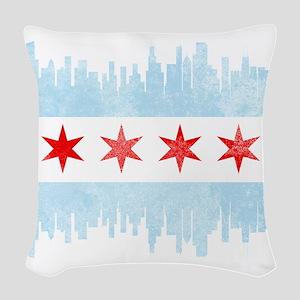 Chicago Skyline Flag Woven Throw Pillow