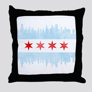 Chicago Skyline Flag Throw Pillow