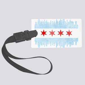 Chicago Skyline Flag Large Luggage Tag