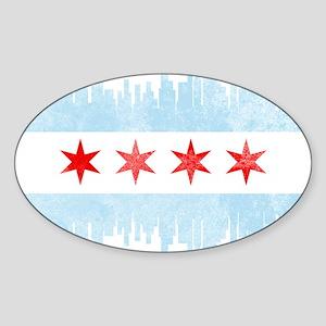 Chicago Skyline Flag Sticker