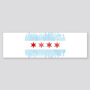 Chicago Skyline Flag Bumper Sticker