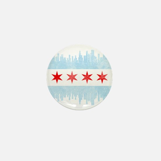 Chicago Skyline Flag Mini Button