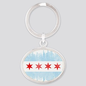 Chicago Skyline Flag Keychains
