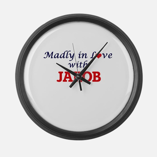 Madly in love with Jakob Large Wall Clock