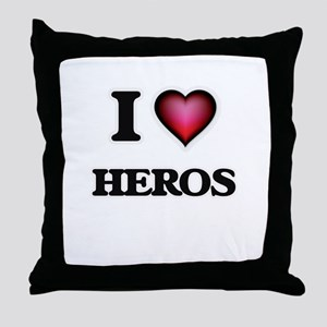 I love Heros Throw Pillow