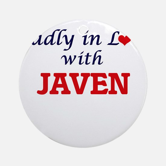 Madly in love with Javen Round Ornament