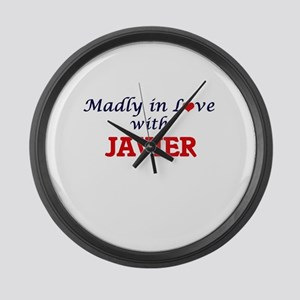 Madly in love with Javier Large Wall Clock