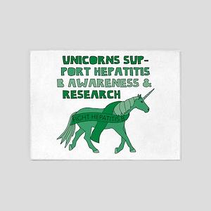 Unicorns Support Hepatitis B Awaren 5'x7'Area Rug