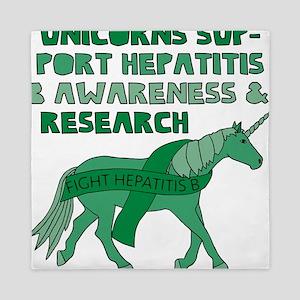 Unicorns Support Hepatitis B Awareness Queen Duvet