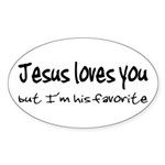 Jesus Loves You Oval Sticker