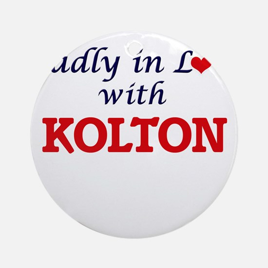 Madly in love with Kolton Round Ornament