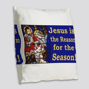 Jesus is the reason for the se Burlap Throw Pillow