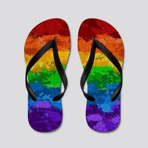 Rainbow Paint Splatter Flag Flip Flops