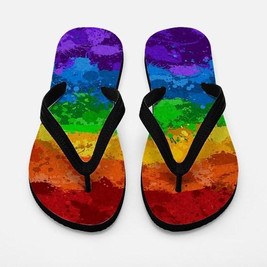 Rainbow Paint Splatter Flag Flip Flops