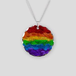 Rainbow Paint Splatter Flag Necklace
