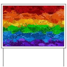Rainbow Paint Splatter Flag Yard Sign