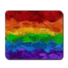 Rainbow Paint Splatter Flag Mousepad