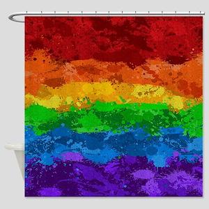 Rainbow Paint Splatter Flag Shower Curtain
