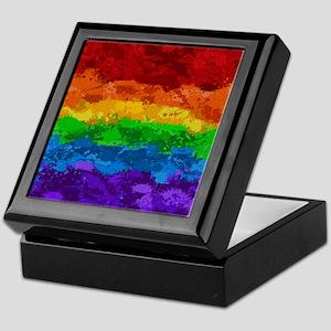 Rainbow Paint Splatter Flag Keepsake Box