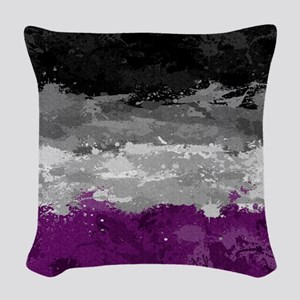 Asexual Paint Splatter Flag Woven Throw Pillow
