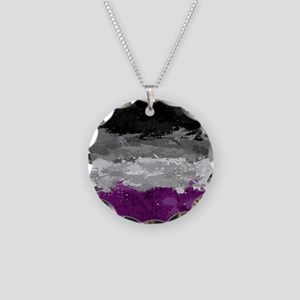 Asexual Paint Splatter Flag Necklace Circle Charm