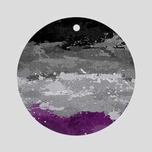 Asexual Paint Splatter Flag Round Ornament