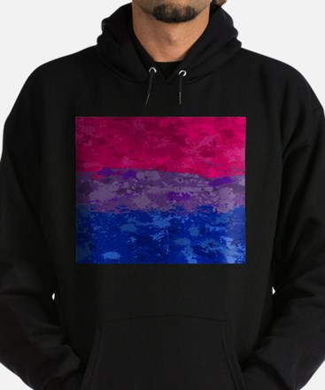 Bisexual Paint Splatter Flag Hoodie (dark)