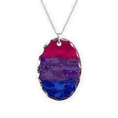Bisexual Paint Splatter Flag Necklace