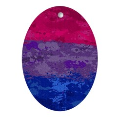 Bisexual Paint Splatter Flag Oval Ornament