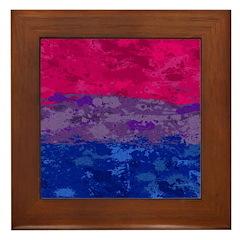 Bisexual Paint Splatter Flag Framed Tile