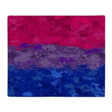 Bisexual Paint Splatter Flag Throw Blanket