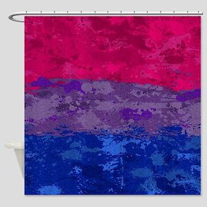 Bisexual Paint Splatter Flag Shower Curtain