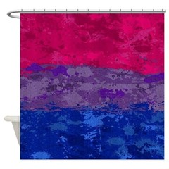 Bisexual Paint Splatter Flag Shower Curtain