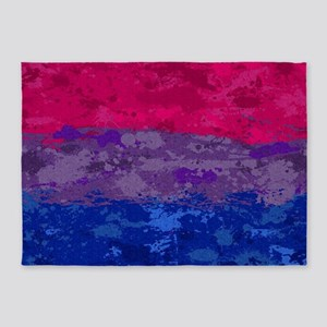Bisexual Paint Splatter Flag 5'x7'Area Rug