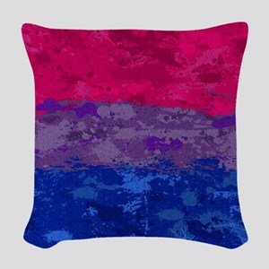 Bisexual Paint Splatter Flag Woven Throw Pillow