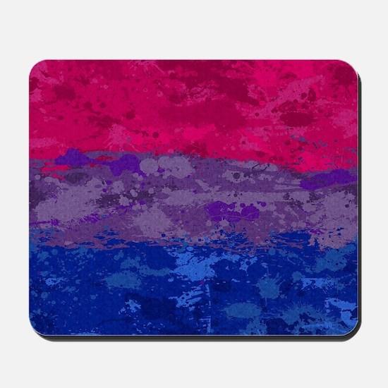 Bisexual Paint Splatter Flag Mousepad