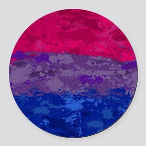 Bisexual Paint Splatter Flag Round Car Magnet