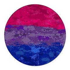 Bisexual Paint Splatter Flag Round Car Magnet
