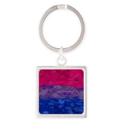 Bisexual Paint Splatter Flag Square Keychain
