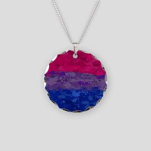Bisexual Paint Splatter Flag Necklace Circle Charm