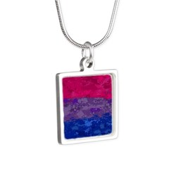 Bisexual Paint Splatter Fl Silver Square Necklace