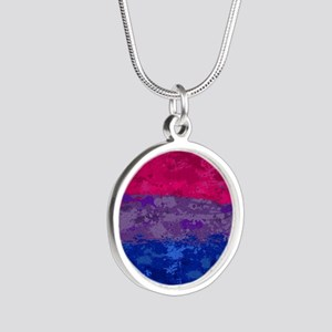 Bisexual Paint Splatter Flag Silver Round Necklace