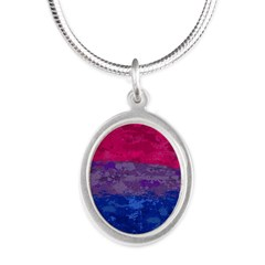 Bisexual Paint Splatter Flag Silver Oval Necklace