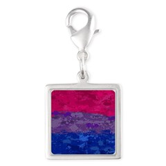Bisexual Paint Splatter Flag Silver Square Charm
