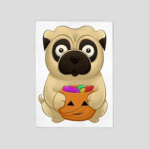 A Pug Halloween 5'x7'Area Rug