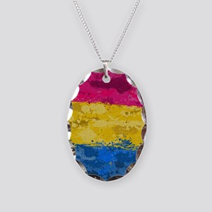 Pansexual Paint Splatter Flag Necklace Oval Charm